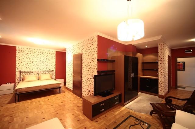 bedroom in red eclectic-bedroom