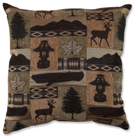 Lodge Brown and Green 18-Inch Throw Pillow traditional-bed-pillows-and-pillowcases
