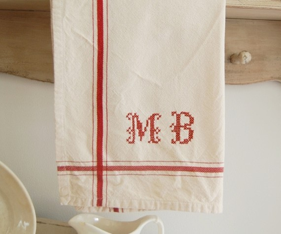 Personalized French Stripe Kitchen Towel By Frog Goes To