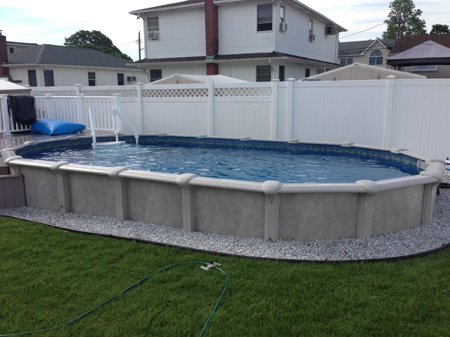 12x24 semi inground pool for In ground pool deck ideas