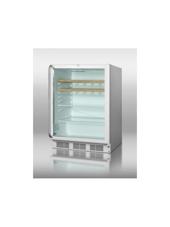 "Summit - Commercial Series SCR600L-CSS-RC 24"" 5.5 cu.ft. Under-Counter Glass Door Refrige - With a slim width and full features SUMMIT39s popular SCR600L series of all-refrigerators offer reliable service in a wide range of commercially approved models with glass doors At just 24 wide the SCR600BLCSSRC contains a generous 55 cuft storage ca..."