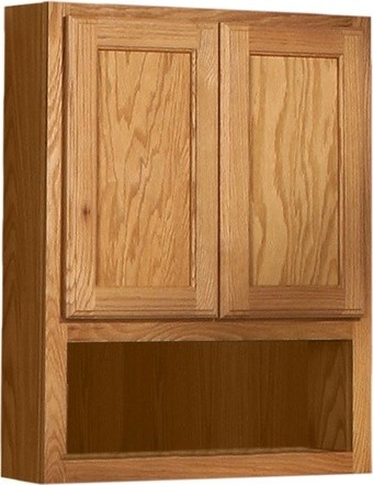 "Bostonian Series 24"" x 30"" Red Oak Over the Toilet Cabinet in Honey Oak Finish - Modern ..."