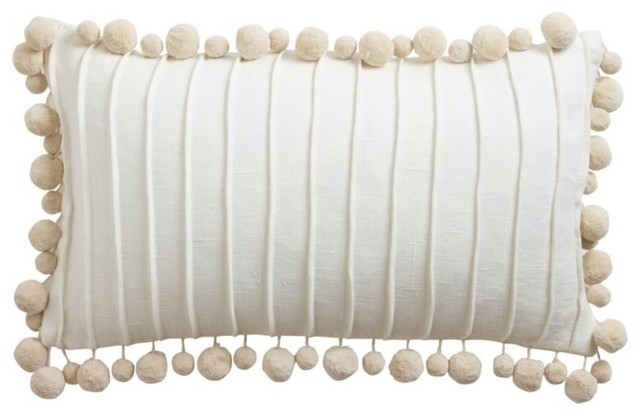 oyster linen pom pom pillow traditional pillows