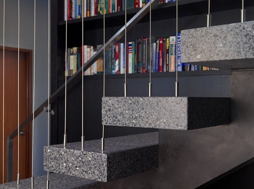 Terrazzo and Steel Stair Detail eclectic staircase