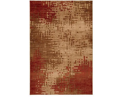 Inferno Red and Beige Rug (8' x 11') contemporary-paintings