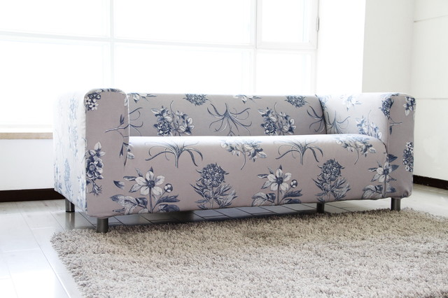 custom floral velvet sofa cover for the ikea klippan 2