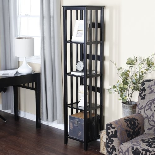 Finley Home Narrow Mission Bookcase - Black - Contemporary - Bookcases - by Hayneedle