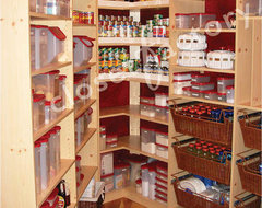 Small Walk In Maple Melamine Pantry eclectic-closet