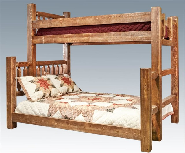 Twin Over Full Bunk Bed In Lacquered Finish Rustic