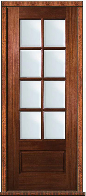 Pre hung french single door 96 mahogany 3 4 lite 8 lite for Single glass french door