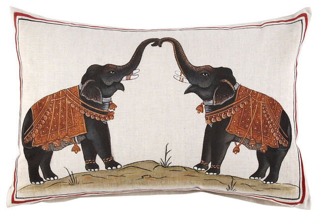 Two Elephants Decorative Pillow asian pillows