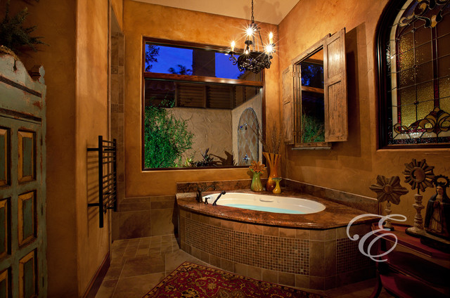 Hacienda mission casual mediterranean bathroom for Bathroom ideas houston