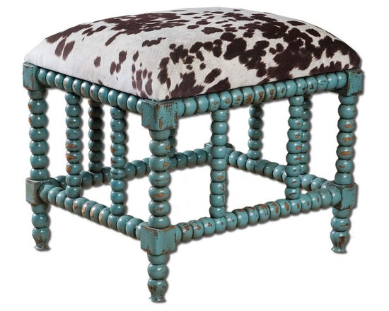 "Uttermost Chahna Small Bench - Uttermost Chahna Small Bench features aqua blue finish on solid, plantation grown mango wood with cushioned seat in plush, dark chocolate and milky white velvet. Dimensions: 19"" High, 22"" Wide."