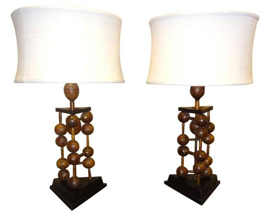 Wood Weighted Lamps - Spectacular pair of custom primitive wood lamps made from old vintage wood weights. Twisted silk cord.  Custom linen shades.