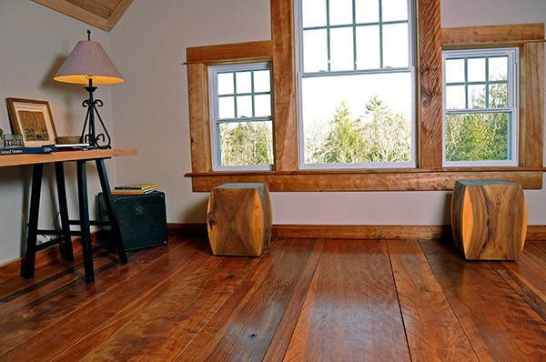 Loft Office Remodel - Reclaimed Red Birch Floors and Ceiling traditional-hardwood-flooring