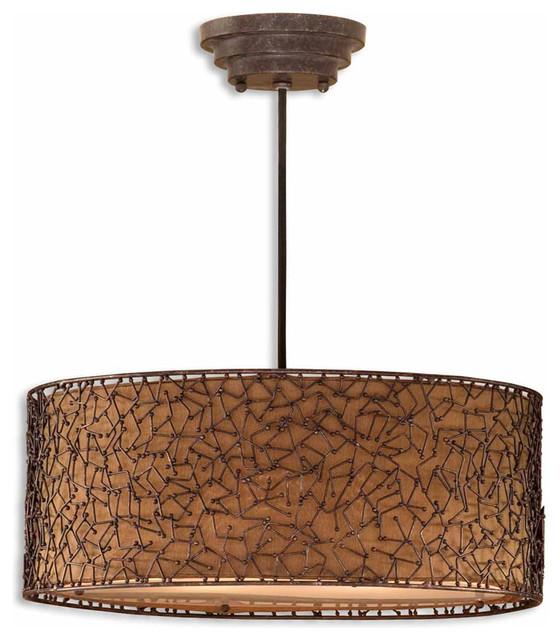 Uttermost 21153 Brandon 3-Light Brown Drum Pendant contemporary-pendant-lighting
