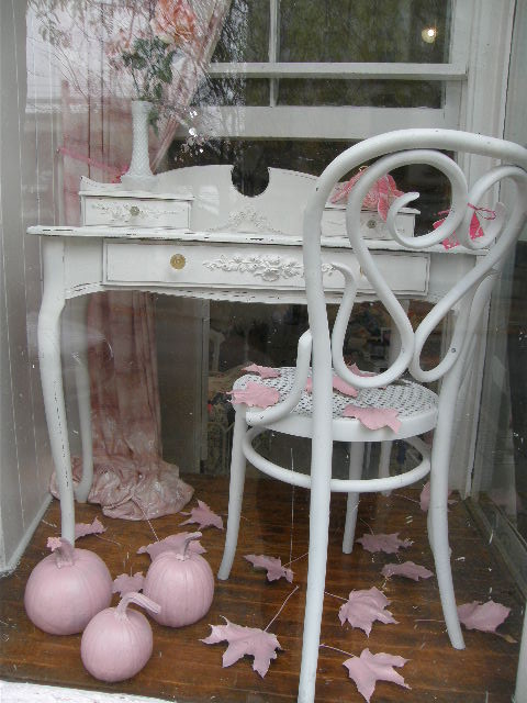 vintage shabby chic desk with lovely appliques eclectic home office