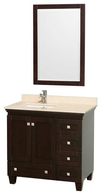 """Wyndham Collection 36"""" Acclaim Espresso Single Vanity w/ White Porcelain Sink transitional-bathroom-vanities-and-sink-consoles"""