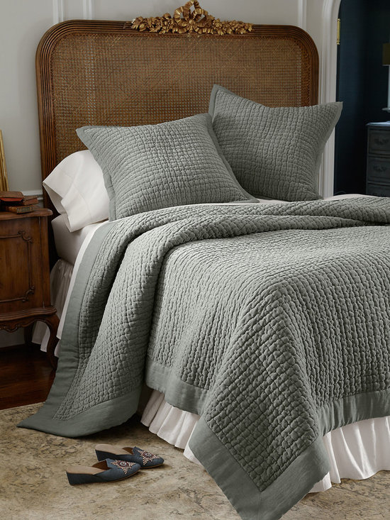 Alexa Velvet Quilt - Alexa brings a layer of relaxed luxury and sophistication to the bed. Made from what can only be described as the most delectably soft cotton velvet we have ever felt, you'll be hard pressed to leave your bed on chilly winter mornings! Quilted in hand-stitched channels, a tonal, textural linen border lends it a less formal look.