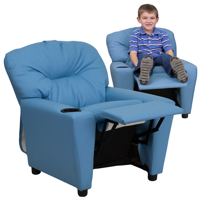 Contemporary Light Blue Vinyl Kids Recliner with Cup