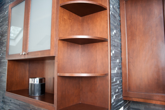 Radiused Open Corner Shelves - Transitional - Home Bar - new york - by Pro Skill Construction