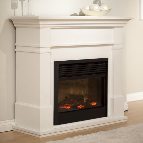 Dimplex Kenton White Electric Fireplace contemporary-indoor-fireplaces