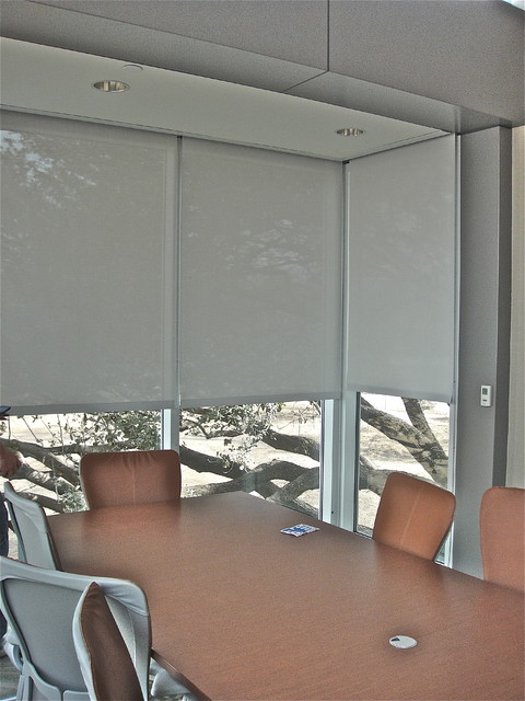 Blackout roller shades in conference room - Roller Shades - dallas - by Kite's Interiors