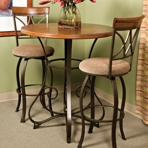 Cafe Hamilton Pub Table in Matte Pewter and Bronze - modern