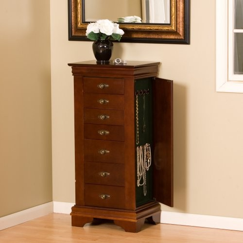 Louis Philippe Cherry Jewelry Armoire traditional-dressers