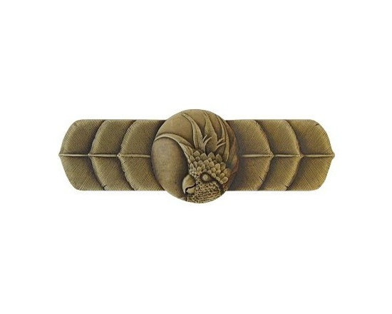 """Inviting Home - Right Horizontal Cockatoo Pull (antique brass) - Hand-cast Right Horizontal Cockatoo Pull in antique brass finish; 4-1/4""""W x 1-1/2""""H; Product Specification: Made in the USA. Fine-art foundry hand-pours and hand finished hardware knobs and pulls using Old World methods. Lifetime guaranteed against flaws in craftsmanship. Exceptional clarity of details and depth of relief. All knobs and pulls are hand cast from solid fine pewter or solid bronze. The term antique refers to special methods of treating metal so there is contrast between relief and recessed areas. Knobs and Pulls are lacquered to protect the finish. Detailed Description: If you are intrigued by fashionable and playful accessories than you will love the Cockatoo pulls - they come in vertical and horizontal options which would bring amazing variety without having to search at all. You can use the vertical pulls on the cabinet doors and the horizontal pulls on the drawers. If you have any smaller drawers you could also work in the Cockatoo Knobs making it a complete collection while displaying variety."""