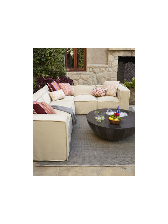 Horchow - Kendall Outdoor Sectional - Warmer weather moves easy living outdoors, and this 6-piece sectional offers relaxed simplicity and an upbeat design. Frame made of marine-grade hardwoods. Solution-dyed acrylic upholstery. Rain drain feature lets water drain though the tight seats....