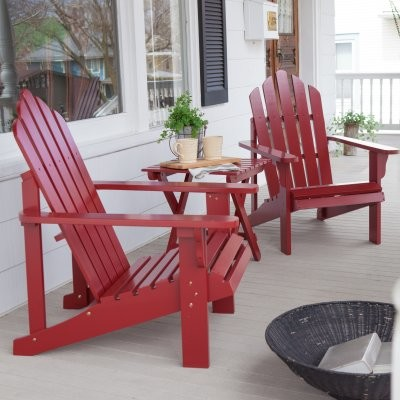 Coral Coast Red Adirondack Chair - Set of 2 Chairs with FREE Side Table modern-outdoor-chairs