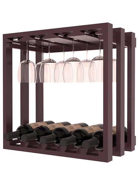 Wine Storage Lattice Stemware Cube in Pine with Burgundy Stain + Satin Finish - Designed to stack one on top of the other for space-saving wine storage our stacking cubes are ideal for an expanding collection. Use as a stand alone rack in your kitchen or living space or pair with the 20 Bottle X-Cube Wine Rack and/or the 16-Bottle Cubicle Rack for flexible storage.