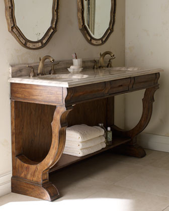 Ambella - Open Double-Sink Vanity & Faucet traditional bathroom vanities and sink consoles
