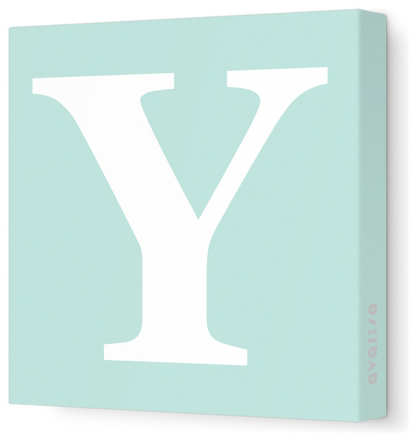 "Letter - Upper Case 'Y' Stretched Wall Art, 18"" x 18"", Sea Green modern-kids-decor"