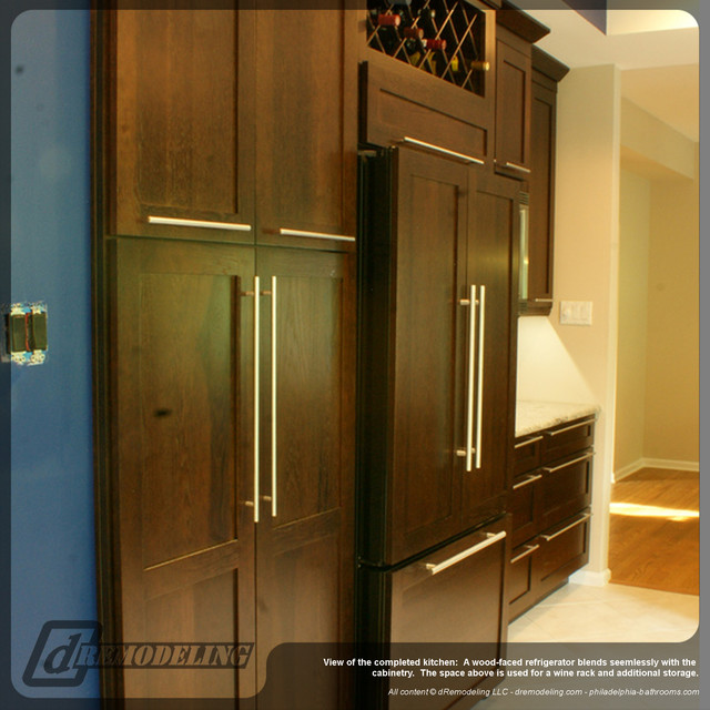 Wood faced refrigerator and cabinetry - Modern - Kitchen - philadelphia - by dRemodeling