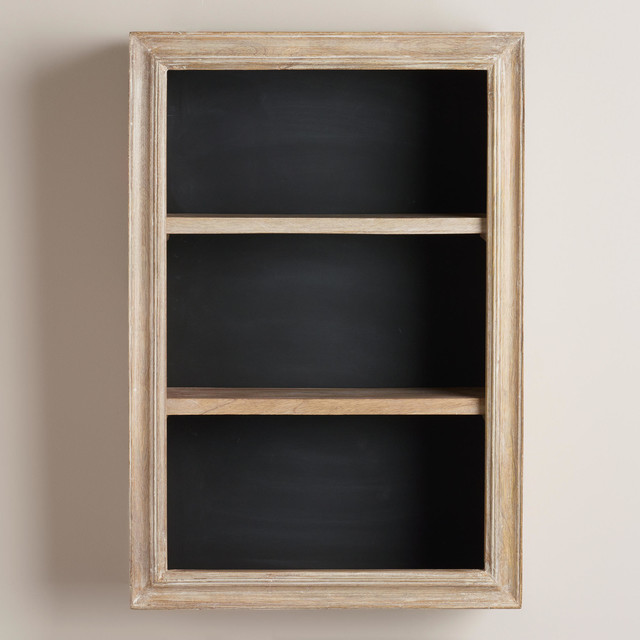 Cabin Chalkboard 2-Shelf Cabinet - Rustic - Display And Wall Shelves - by Cost Plus World Market