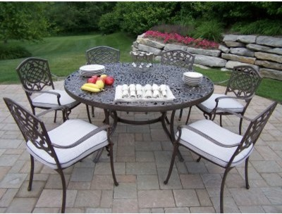 Oakland Living Mississippi Aluminum 60 in. Patio Dining Set - Seats 6 traditional-patio-furniture-and-outdoor-furniture
