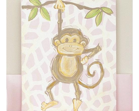 Pink Safari Monkey Canvas -