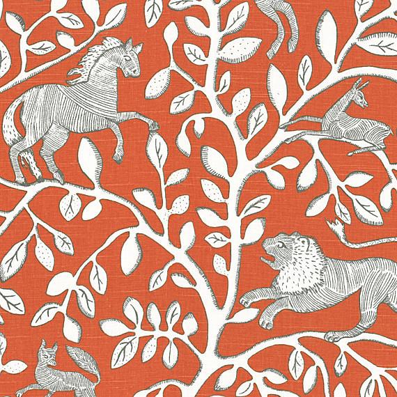 Red Modern Animal Motif Fabric Modern Upholstery Fabric By Loom Decor