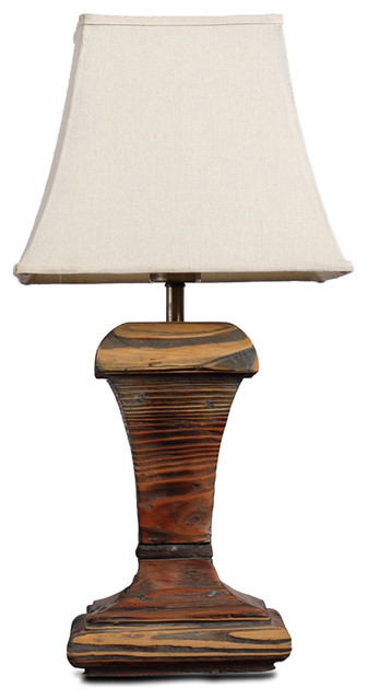Fabric Square Bell Shade Wooden Base Vintage Table Lamp traditional-table-lamps