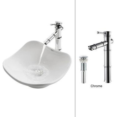 KRAUS Tulip Vessel Sink in White with Bamboo Faucet in Chrome contemporary-bathroom-sinks