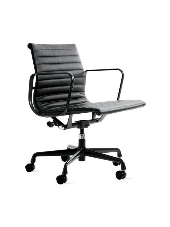 Herman Miller - Eames Aluminum Management Chair- Powder-Coated Frame, Vincenza Leather - When Charles and Ray Eames designed the Eames Aluminum Management Chair (1958), they created a revolution in seating that has lost none of its edge. Moving away from the Eameses' shell forms of the 1940s, the designers combined a newly affordable aluminum frame with a sling seat that subtly conforms to the body's shape. These quintessential modern chairs Ò originally developed as a special project for a private residence being designed by Eero Saarinen and Alexander Girard Ò are now available with black or white powder-coated frames and pearl or black leather upholstery. This original is an authentic, fully licensed product of Herman Miller∆, Inc. Eames is a licensed trademark of Herman Miller. Made in U.S.A.