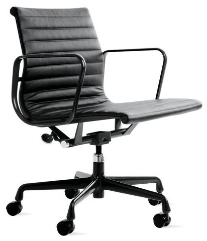 Eames Aluminum Management Chair Powder Coated Frame Vincenza Leather Midc