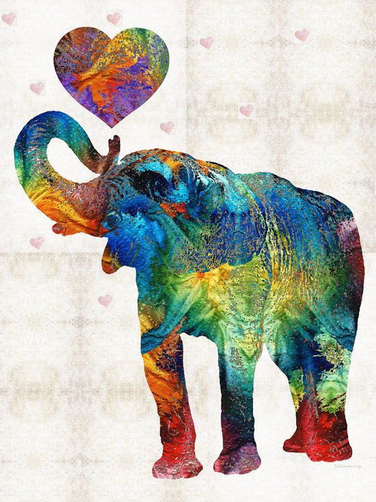 Animals, Fish and Birds - Colorful Elephant Art - Elovephant - By Sharon Cummings