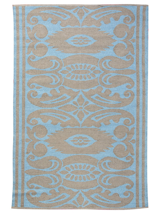 KOKO - India Area Rug - 4' x 6' - Lead/Aqua - While the pattern may recall traditional Indian design, the fabrication of this indoor/outdoor mat is thoroughly modern. It defies mold and mildew and cleans in a snap — simply hose off and drip dry.