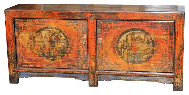 Beautiful Vintage Painted Two Door Ming Buffet asian-buffets-and-sideboards