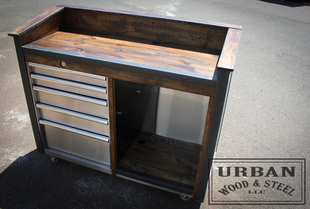 Stainless Steel Reclaimed Pine Hostess Stand With