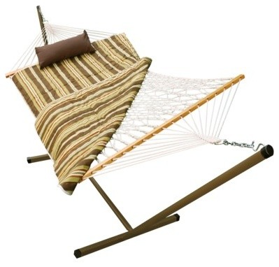 Outdoor Hammock and Stand Set, Beige/Brown/Off-white Stripe contemporary-hammocks