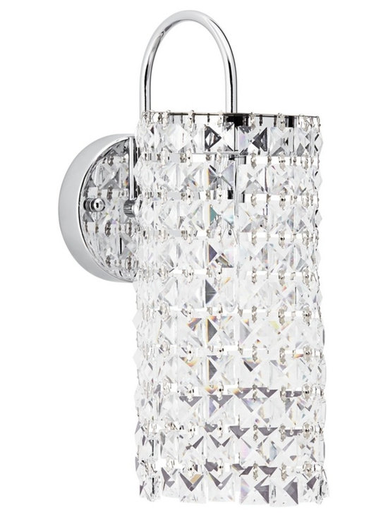 "Possini Euro Design - Possini Euro Eminence 15"" High Crystal Sconce - Dress your walls in glamour with this gleaming contemporary wall sconce. A drape of crystals descends from a chrome finish arm and backplate. From the Eminence Collection by Possini Euro Design.  Eminence contemporary wall sconce.  By Possini Euro Design.  Clear crystals.  Chrome finish.  Maximum 60 watt or equivalent candelabra base bulb (not included).  15"" high.  5 1/4"" wide.  Extends 8 1/2"" from the wall."